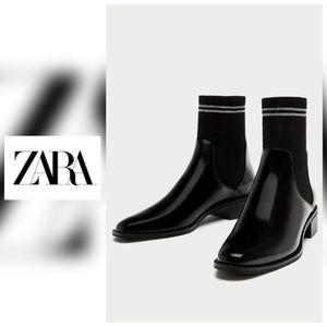 NWT Zara Flat Sock Ankle Boots - 7.5
